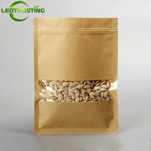 Leotrusting 100pcs Flat Bottom Kraft Paper Clear Window Bag Candy Snack Nuts Grain Ziplock Packaging Bag Paper Gift Window Pouch(China)