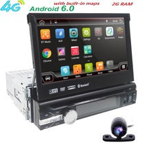 Hizpo Universal Single 1 din Android 6.0 Quad 4 Core Car DVD player GPS Wifi BT Radio BT 2GB RAM 16GB ROM 4G SIM LTE Network