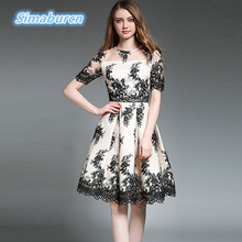 High Quality Summer Dress Women Brand Short Sleeve Casual Office Dresses Lady Temperament A-Line Lace Embroidery Dress Clothing(China)
