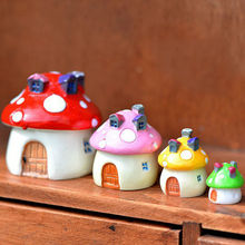 DIY Micro Mushroom House Resin Crafts Mini Landscape House Doll House Fairy Garden Decoration Bonsai Decor Ornaments