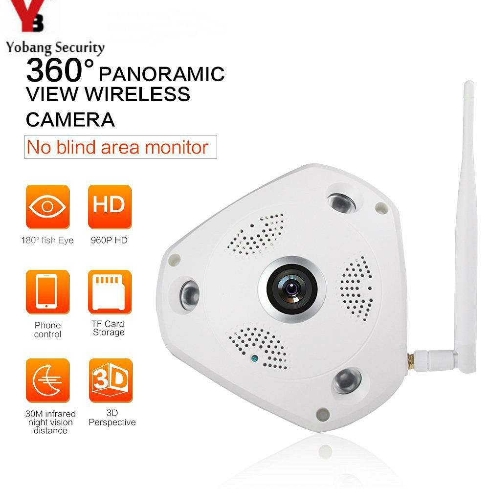 YobangSecurity 360Degree 960P Panoramic Wireless Ip Camera System Fisheye Monitoring System 1.3MP Surveillance VR Wifi IP Camera<br>