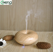Donut shape mini light fine wood grain ultrasonic humidifier aromatherapy diffuser atomizer home and office air humidifier hot
