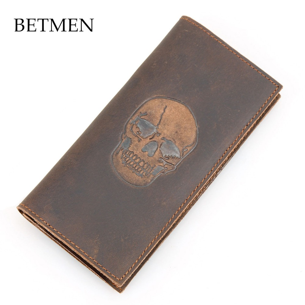 BETMEN Vintage Men Wallets Genuine Leather Wallet Long Casual Crazy Horse Leather Purse<br>