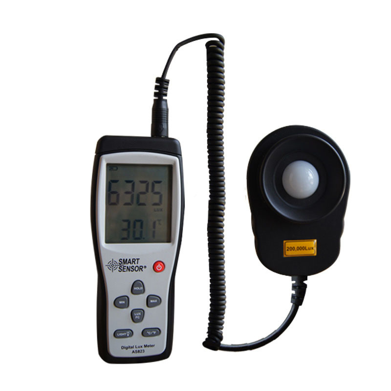 Free Shipping 200,000 Lux Digital LCD backlight Light Meter Lux/FC Measure Tester AS823--industrial grade light sensitive diode<br>