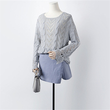Korean Fashion 2016 New Autumn Hollow-out Twist Flare Sleeve Gray Blue brown Loose Sweaters Women Crochet Pullover Sweater