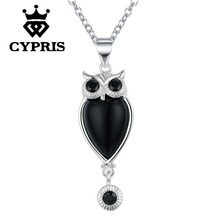 WHOLESALE Hot Promotion silver Fashion animal style Owl Pendant Necklace 18inch big stone crystal Wholesale Price  jewelry
