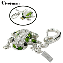 Full capacity 4GB 8GB 16GB 32GB usb flash drive Crystal cute Frog USB2.0 Memory Stick USB Flash Pen Drive Keychain Free shipping