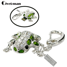 Full capacity 4GB 8GB 16GB 32GB 64GB usb flash drive Crystal Cute Frog USB 2.0 Memory Stick USB Flash Pen Drive With Keychain(China)