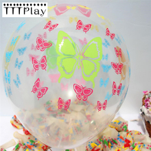 20pcs/lot 12inch Clear Butterfly Romantic Latex Balloon Inflatable Transparent Air Ball Birthday Wedding Party Decoration Ballon