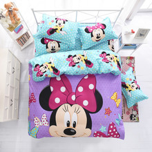 mickey and minnie boys/girls bedding set duvet cover bed sheet pillow cases queen full twin size bed linen set