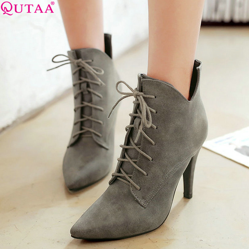 QUTAA Gray PU leather+Scrub Autumn 2016 Women Shoes Thin High Heel Ankle Boots Lace Up Women Motorcycle Boot Size 34-43<br>