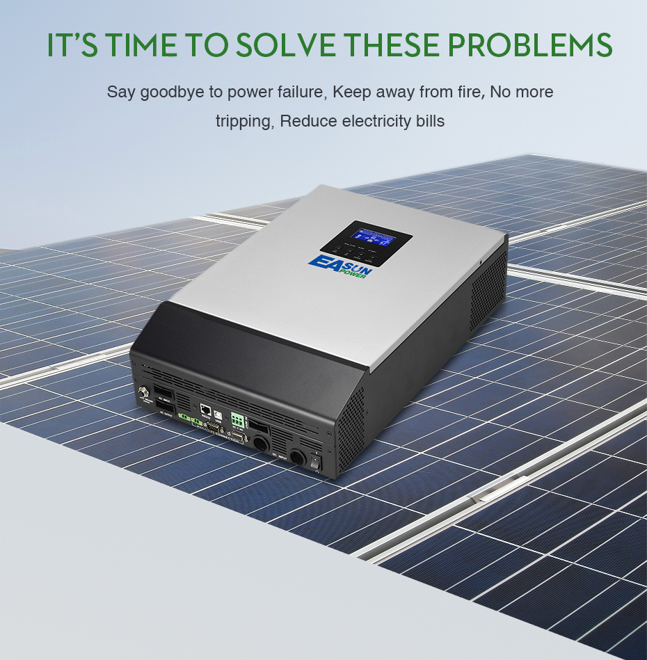 EASUN POWER 12V Solar Inverter 800W MPPT 1Kva Pure Sine Wave Inverter 40A Off Grid Inverter 110V Hybrid Inverter 20A AC _05