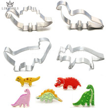 LIMITOOLS 4Pcs/Set Stainless Steel Dinosaur Animal Fondant Cake Cookie Biscuit Cutter Decorating Mould Pastry Baking Tools