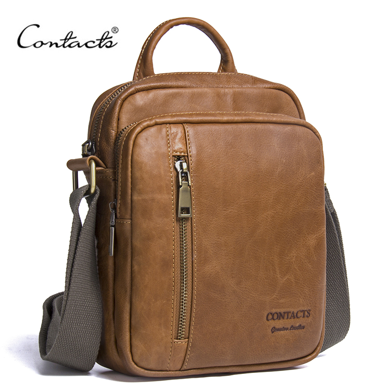 CONTACTS Mens Genuine Cowhide Leather Shoulder Bag Quality Men Messenger Bags Causal Crossbody Handbag For Men Briefcase Bags<br>