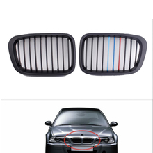 Car Styling For bmw front grille 1 Pair Auto Grille Grill Wide Kidney Matte Black M-color for BMW E46 4 door 3 Series 1998-2001