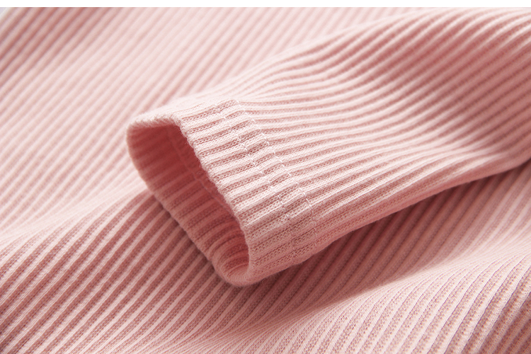 2018 Spring Autumn 100% Cotton White Grey Pink Solid Color Long Sleeve Pleated Turn-Down Collar Neck T Shirt For Girls 10 Years (16)
