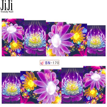 1 Sheet Water Decals Transfer Sticker Nail Art Beauty Floral Dream Color Flowers Purple Designs Women Mannicuer Tools JIBN170