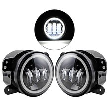 Pair 4 Inch LED Fog Lamp Halo Angle Eyes Light Fit Chrysler Dodge Jeep Wrangler