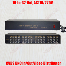 16 In 32 Out Composite CVBS BNC Video Distributor 16CH Input Video Splitter Analog CCTV Security Camera System Signal Amplifier