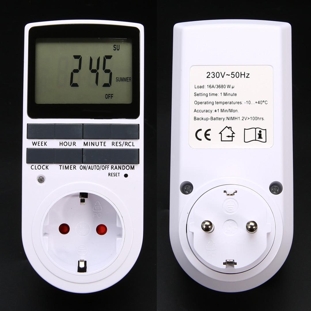 Mayitr Electronic Digital Timer Switch EU Plug Kitchen Timer Outlet 230V 50HZ 7 Day 12/24 Hour Programmable Timing Socket