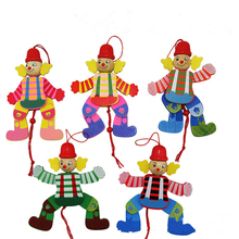1 Pc Random Color Kids Cute Cartoon Wooden Pull String Puppet Clown Toys Children Funny Marionette Classic Joint Activity Doll