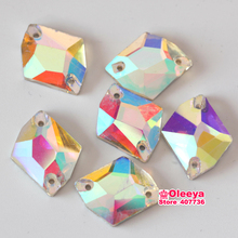 Crystal Clear AB Color Cosmic Shape Sew On Rhinestones Sewing Glass Stones All Sizes Y1052