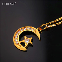 Collare Allah Necklaces Pendants Moon And Star Gold Color Zirconia Wholesale Necklace Women Muslim Islamic Jewelry P575