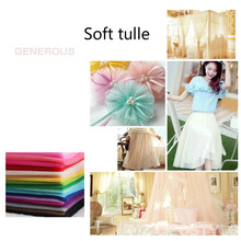 Buulqo 5meters/lot Soft tulle fabric netting fabric solid color 160cm wide polyester mesh ground tulle roll for wedding dress(China)