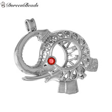 DoreenBeads Silver Tone Copper Wish Box Pendants Elephant Animal Rhinestone Hollow Can Open (Fit Bead Size: 18mm) , 1PC