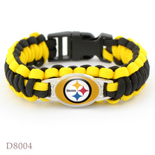 Pittsburgh Steelers super bowl championship Rugby team The umbrella rope Bracelet weaving outdoor Men Fan Gift Wholesale