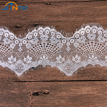 9cm Wide 6M White Mesh Lace Fabric Lace Trim Eyelash Lace Embroidered Lace Ribbon Sewing Accessories(China)
