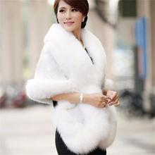 Bridal Wedding Faux Fur Coat Autumn Winter Warm Shawls New Wedding Outerwear Jacket Bolero White Black Burgundy Free Size Cheap