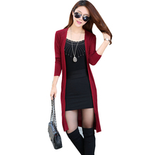 Autumn And Winter Cotton Knitting Elegant Long Cardigan Sweater Women 15 Colors Slim Outerwear Sweater Cardigan Women Plus Size(China)