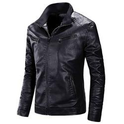 Мужской утепленный мотоциклетный пиджак из ПУ кожи