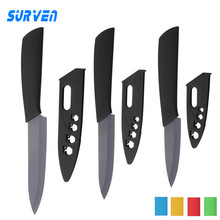 "SURVEN Kitchen Ceramic Knife 3"" 4"" 5"" inch Black Blade Paring Chef Fruit Cooking Knife Kitchen Knives Dining Bar Colorful Handle"