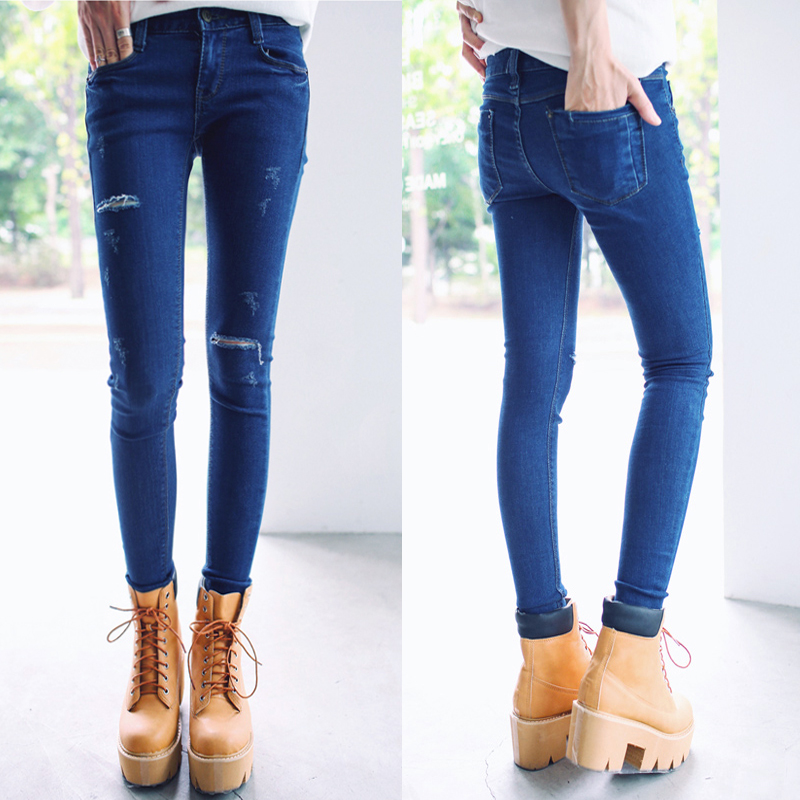 Skinny Pencil Jean Female Denim Pants Casual Trousers Slim Pencil Pants Ripped Jeans For Women High Waist Jeans Pantalones MujerОдежда и ак�е��уары<br><br><br>Aliexpress