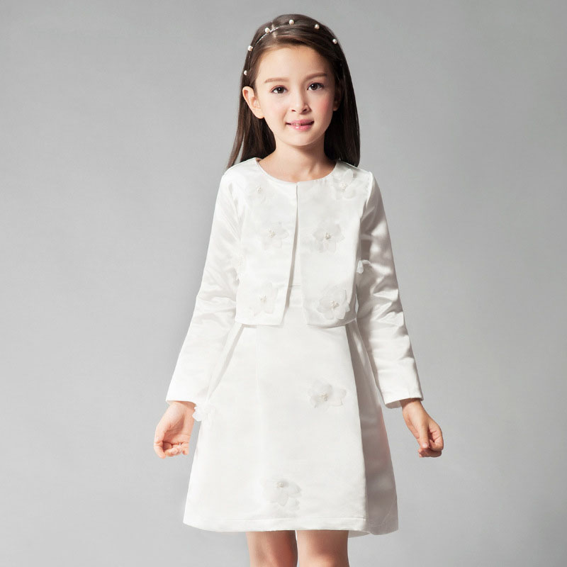 The girl long sleeve princess dress summer autumn for size 6 7 8 9 10 11 12 13 14 years child two piece birthday evening dress<br>