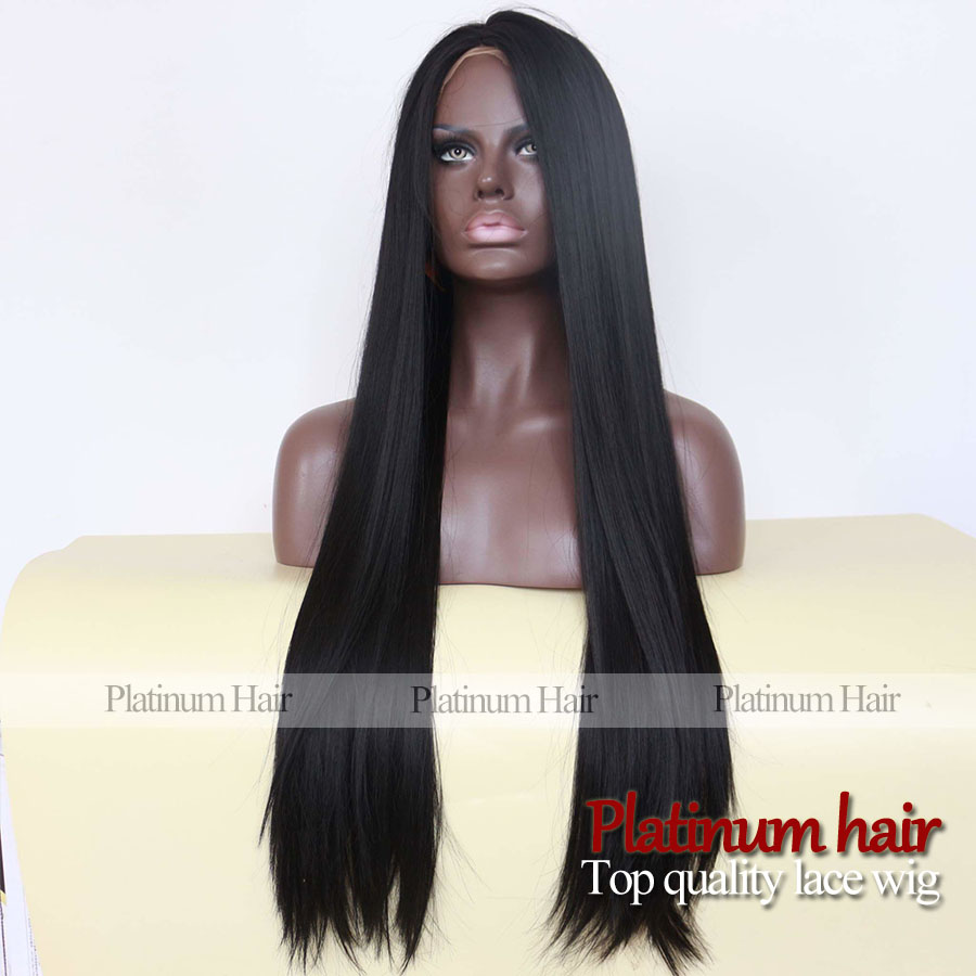 Wholesale new arrival plain black color glueless synthetic wigs lace front 180 density silky straight synthetic hair for women<br><br>Aliexpress