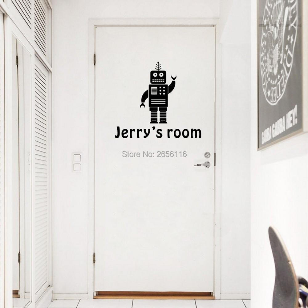 high quality custom tiles promotion shop for high quality personalized robot cartoon wall stickers custom boys name vinyl art decals for bedroom decoration