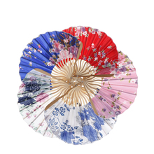 Fabric Floral Pocket Fan Folding Hand Held Fan Wedding Party favor Decor Fan Chinese Japanese Flower Blossoms Carved Hand Fan(China)