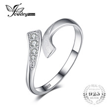 JewelryPalace Double Row Wrap Round Cubic Zirconia Wedding Promise Ring For Women Pure 925 Sterling Silver Jewelry Simple Ring(China)