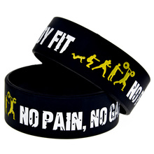 "Promo Gift New Arrival 25PCS/Lot Everybody Fit No Pain No Gain Silicone Wristband 1"" Wide Band Promotion Gift"