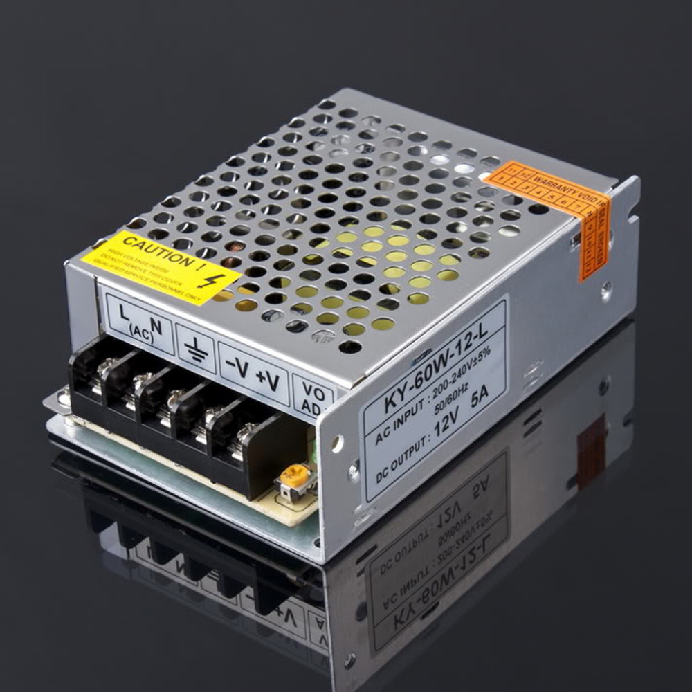 3pcs  Iron shell l12V 5A 60W 200-240V NEW Switching Switch Power Supply for LED Strip light Lights display Free shipping<br>