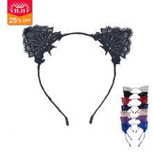 1Pcs Lace Cat Ears Headband For Women Girls Hairband Dance Party Sexy Headwear Hair Accessories(China)