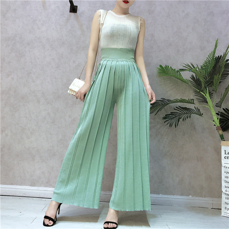 Amolapha Women Tassel Knit Vest Wide Leg Pants Sets Summer Solid Shirts Long Trousers Casual Clothing Suits for Woman
