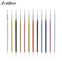Fulljion 12pcs/set Nail Brushes Pens Manicure Nail Tools Makeup Brushes Nail Art Drawing Pen For Nail Makeup Tool Accessories(China)