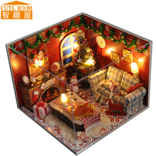 Assemble DIY Doll House Toy Wooden Miniatura Doll Houses Miniature Dollhouse toys With Furniture LED Lights Birthday Gift TW8