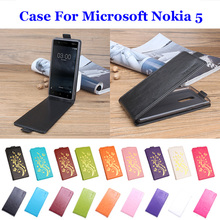 "5.2"" 9 Color Golden Flowers High Quality For Microsoft Nokia 5 Cover Leather Case Flip Covers For Nokia 5 Phone Cover In Stock(China)"