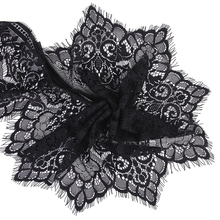 New Hot Sale 3 Yard 19cm Wide Black Eyelash Lace Trim DIY high quality Lace Trim Sewing Applique Costume design Free Shipping
