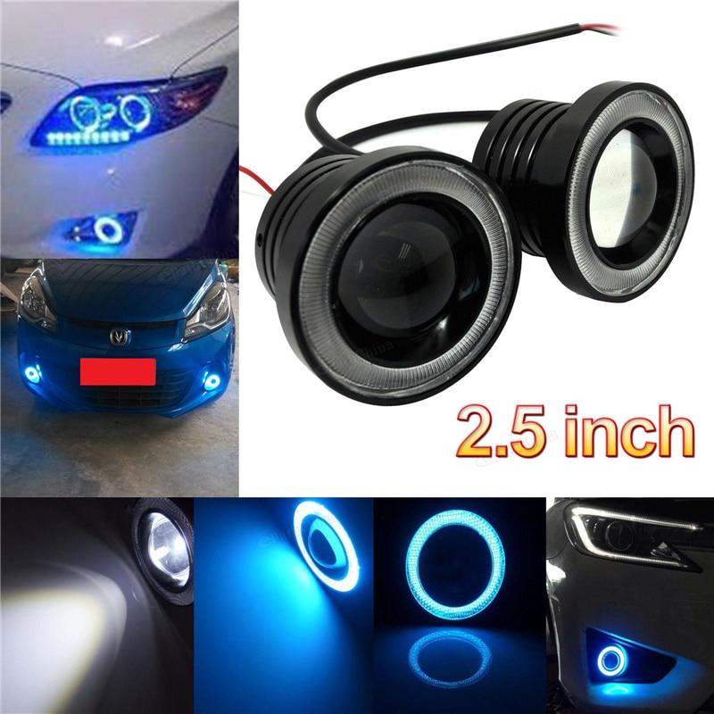 2 Pcs 2.5inch 30W COB LED Fog Light Projector Car Ice Blue Halo Angle Eyes Ring Bulb   <br><br>Aliexpress